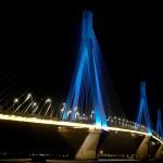 Rio-Antirrio bridge at night, photo Tsakanikas allredy.gr